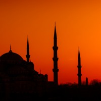 The Blue Mosque -  (Sultan Ahmed Mosque) at sunset